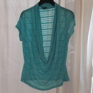 Turquoise sheer top. Cap sleeve deep cowl front